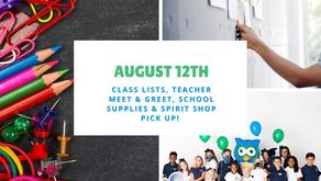 Class Lists, Teachers, Supplies & Spirit Shop!