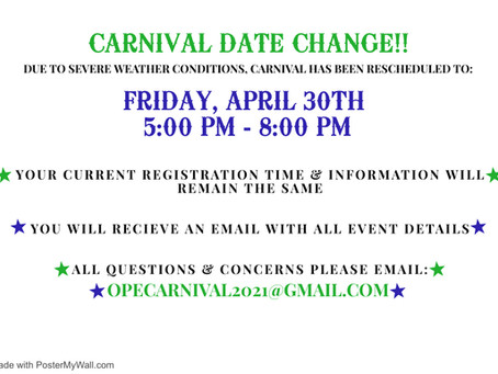 Carnival Rescheduled to Friday, April 30th!