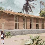 Visualización exterior de Aula de Usos Multiples BAI Ixtaltepec