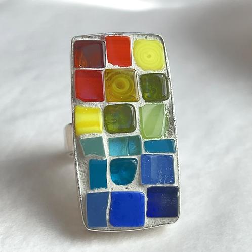 Rainbow glass mosaic ring