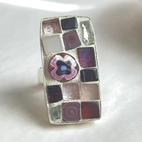 Purple glasses, mosaic ring