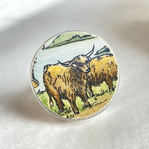 'Hielan' Coos' Scottish vintage china ring