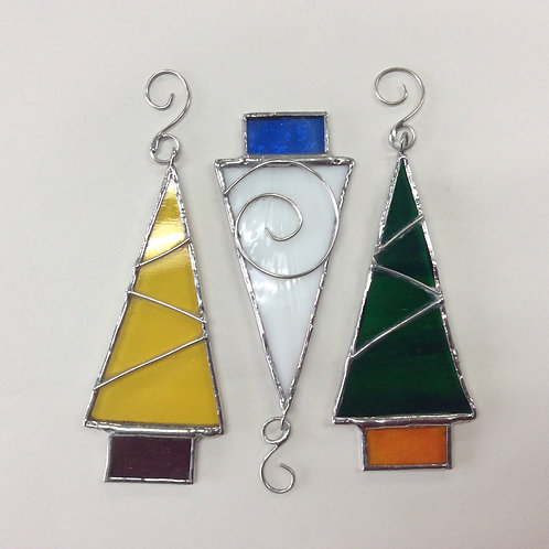 Stained glass Christmas trees  - pack of three