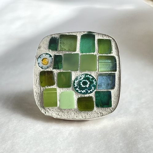 Greens of the Rainforest mosaic ring