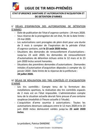 Etat d'urgence sanitaire et autorisation d'acquisition et de détention d'armes