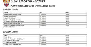 Partits pel cap de setmana del 27 i 28 d'abril