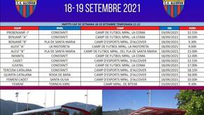 Partits del cap de setmana del 18 i 19 de setembre del 2021