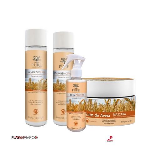 Kit Pure Orgânico Shampoo+Mascara+Leave in Extrato de Aveia