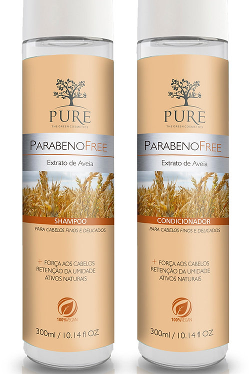 kit pure Orgânico Shampoo 300g+Condicionador300g  Extrato de Aveia Parabeno Free