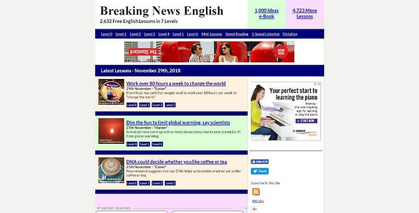 Breaking News English Website