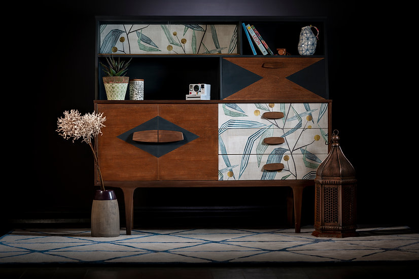Upcycled in Cumbria mid century sideboard painted in dark grey with dark teak perfect for dark interiors