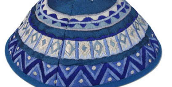 Blue Geometrical Embroidered Kippah