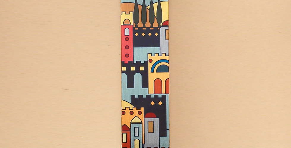 Aluminum & Lucite Mezuzah with Jerusalem Design, 5.5""