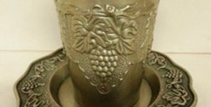 Pewter Kiddush cup with Tray grape Design