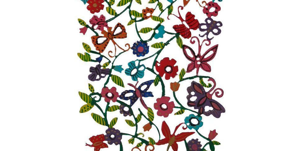 Emanuel Laser Cut Hand Painted Candlesticks-- Butterflies