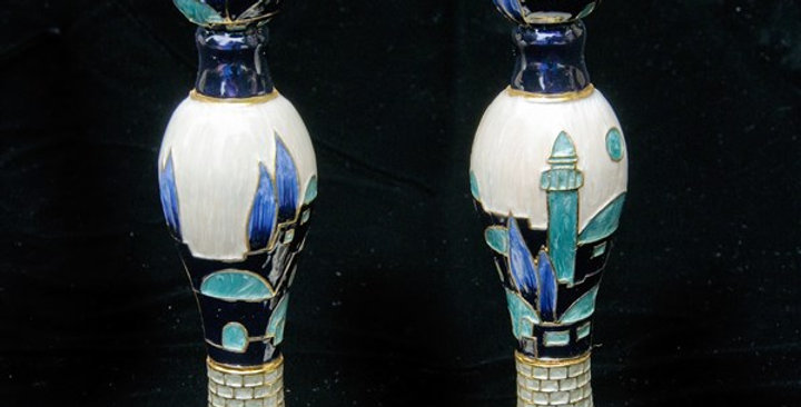"Candlesticks, jeweled, 6"" Pair"