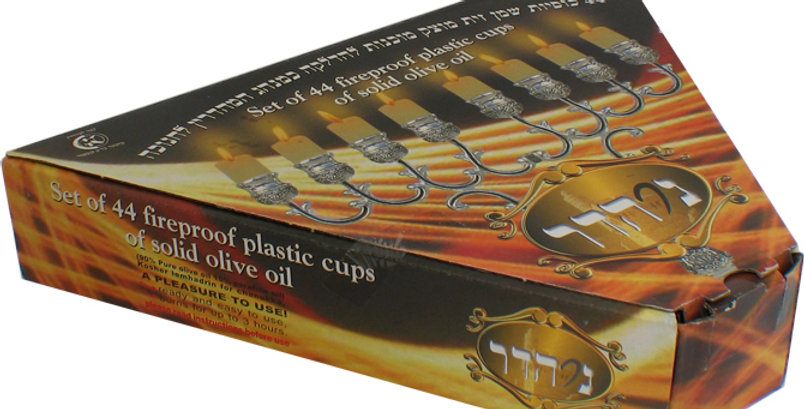 Ner Hadar Chanukah Lights-Box of 44 olive oil and parafine wax vials Medium