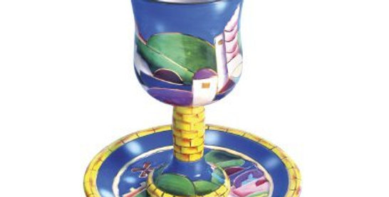 Ceramic Goblet with Coaster Jerusalem