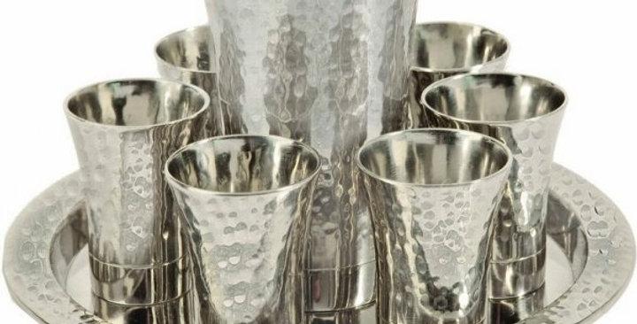 Nickel Kiddush Set - Cup + 6 Cups + Tray - Hammer work Silver