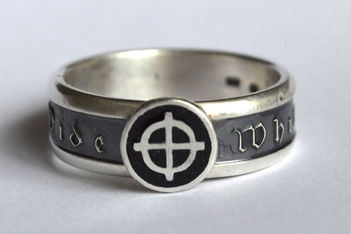 Proud to be white with celtic cross silver ring