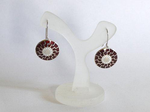 Black sun earrings silver, hot enamel