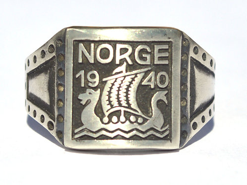 WW2 German silver ring Norge