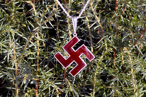 Thunder cross pendant in silver, hot enamel, swastica