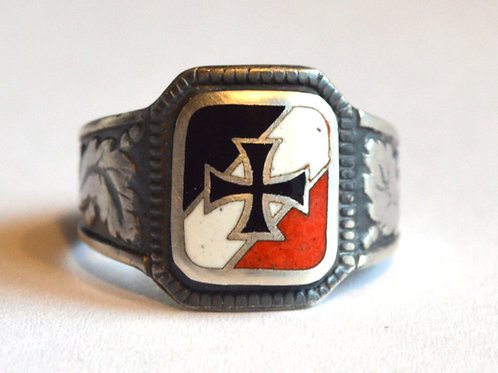 ww1/WW2 German tricolor EK silver ring