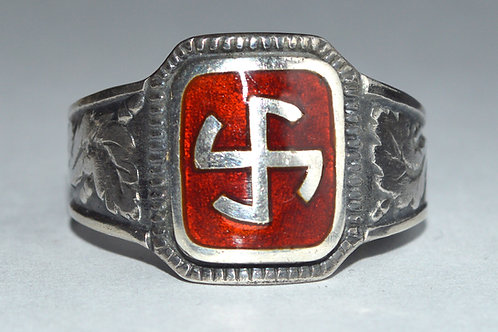 Thunder cross silver ring, hot enamel