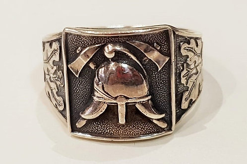 Firefighter silver signet ring