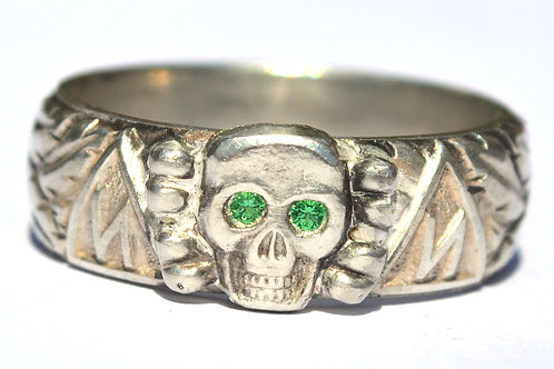 Totenkopfring personalized hand engraved stoneyes