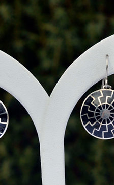 Black sun earrings silver, hot enamel, black