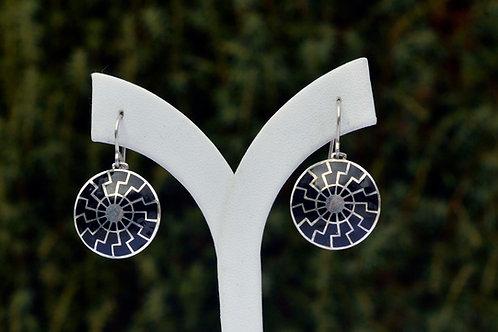 Black sun earrings silver, hot enamel, black