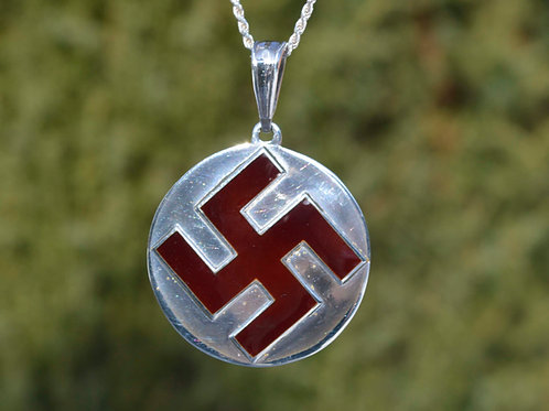 Thunder cross pendant in silver, hot enamel, swastica, round