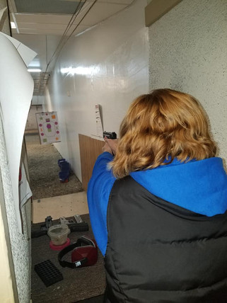 Becky trying out her new M&P EZ!