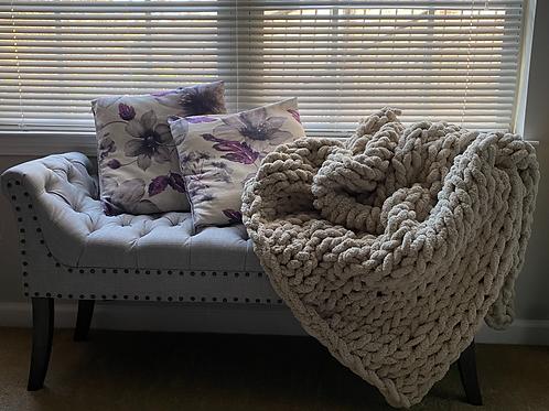 Oatmeal | Hand Knit Throw Blanket