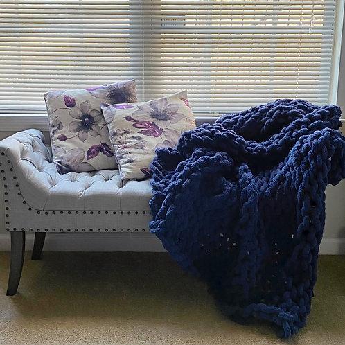 Deep Navy | Hand Knit Throw Blanket
