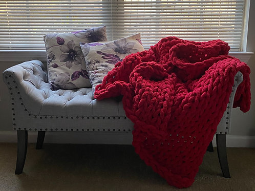 Pomegranate Seed | Hand Knit Throw Blanket
