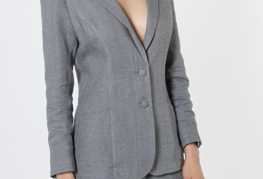 Single-breasted step-lapel linen blazer
