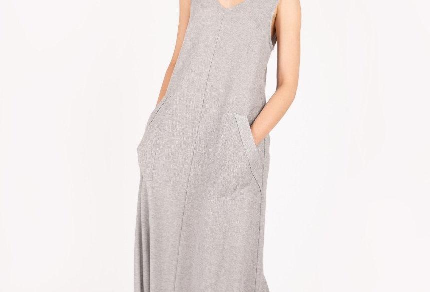 V-neck stretch cotton dress with pockets