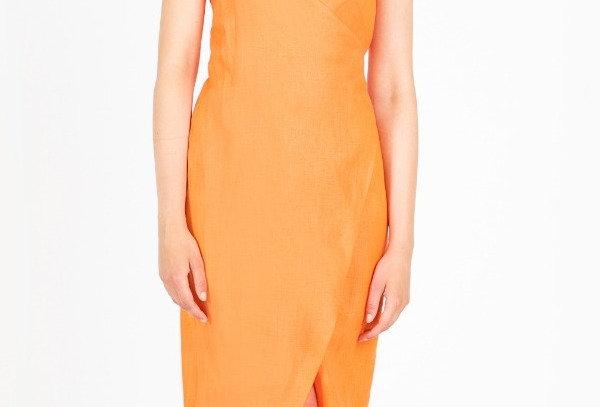 Wrap dress with thin straps and tie waist