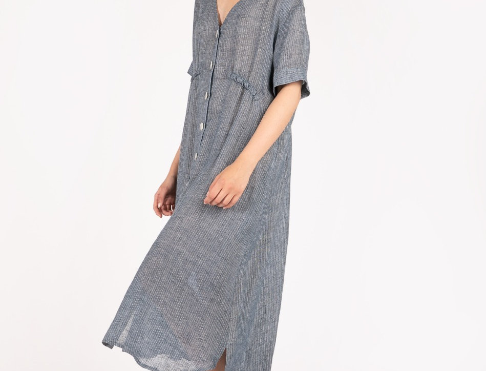 V-neck oversize linen dress