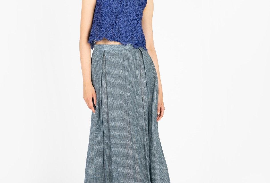 Pleated linen maxi skirt