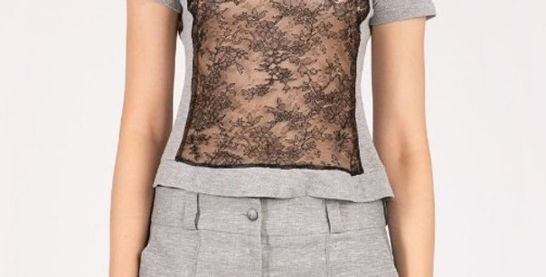 Top with Chantilly lace front panel