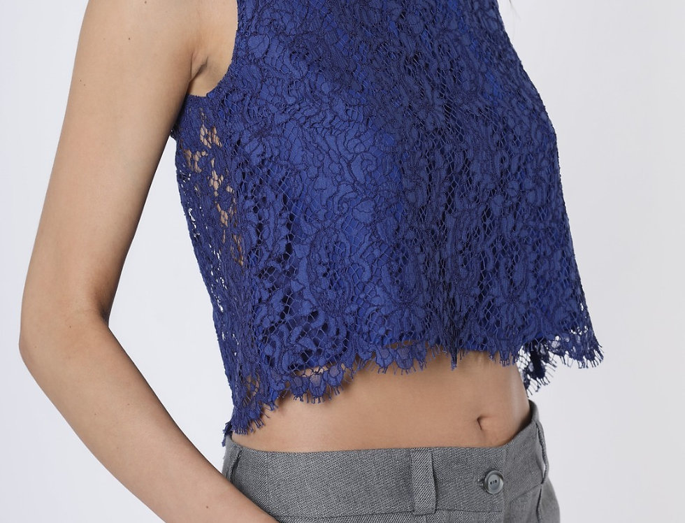 Lace crop top with transparent back