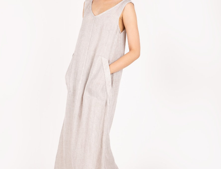 Ankle length pure linen dress with pockets