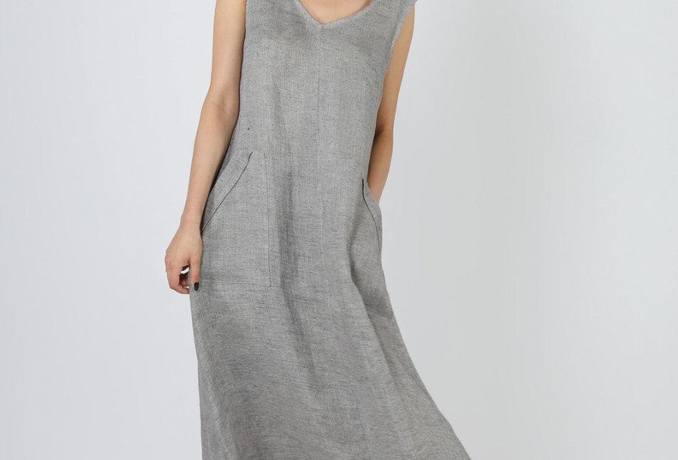 Sleeveless organic linen dress with pockets