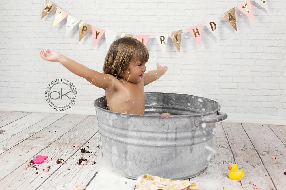Girl in bubble bath