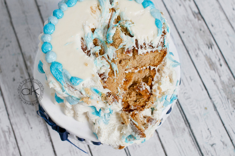 Boy birthday cake remains