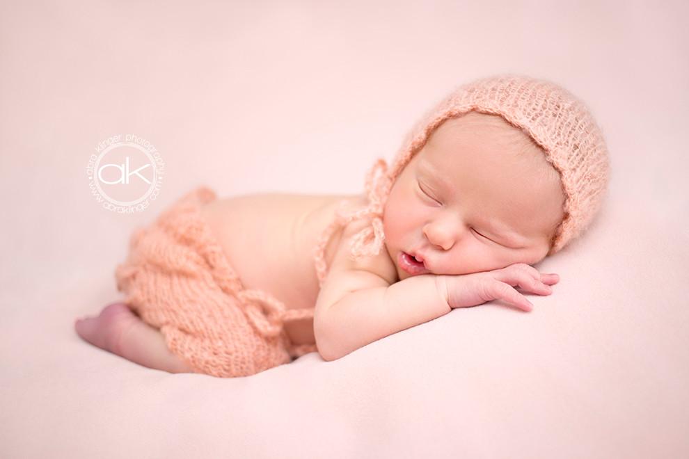 Newborn in pink mohair set